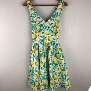 Elle Lemon Printed Dress